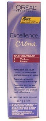 L'Oreal Excellence Creme Color # 8 Medium Blonde 1.74 oz. (3-Pack) with Free Nail File