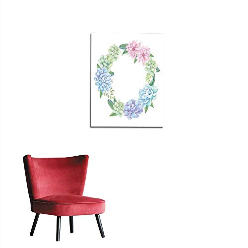 (wall paper Watercolor illustration - wreath of succulents flowers and leaves Succulent and cactus clipart Perfect for Wedding invitation greeting card postcard poster textile print etc mural)