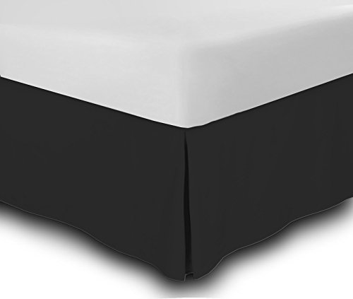 bed skirt hotel quality (queen, black 14 inch fall) - iron easy, quadruple pleated quadruple pleated, wrinkle and fade resistant,100% finest quality by lux decor collection (queen, black)