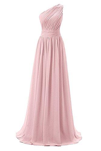 Dressever Women's Long One Shouoder Bridesmaid Asymmetric Prom Evening Dress Blush US 24W