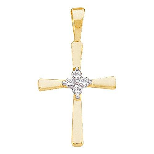 Sonia Jewels 10k Yellow Gold Round Diamond Simple Cross Faith Pendant (1/20 Cttw) ()
