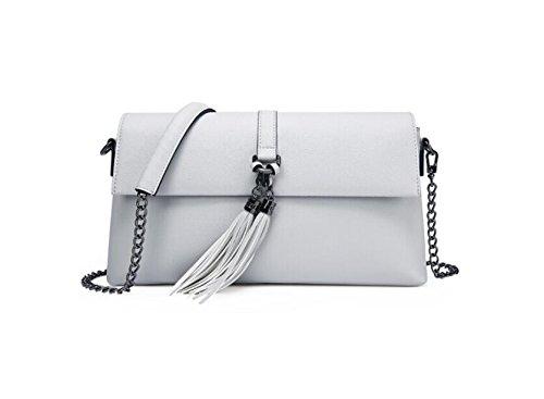 LEODIKA Manera de la cadena de la personalidad solo bolso Satchel Señora Square bolso de múltiples funciones del bolso Negro Gray