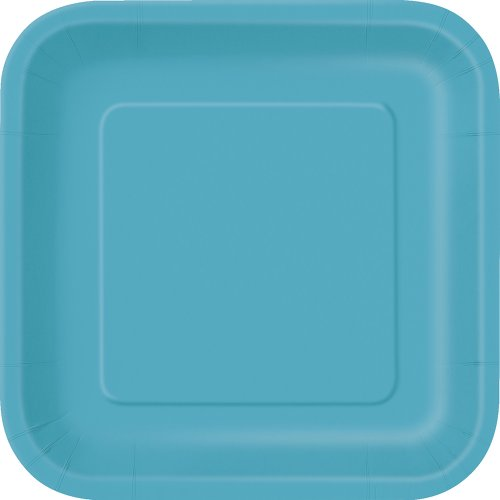 Square Teal Paper Cake Plates