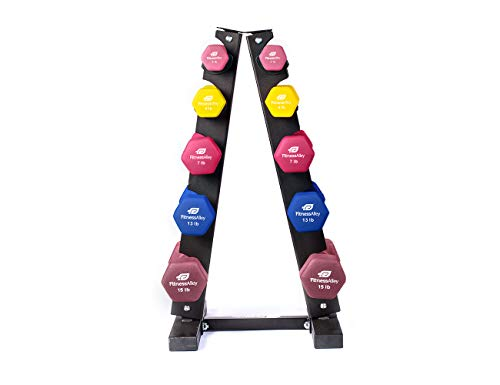 Fitness Alley Neoprene Dumbbells A Frame Rack – Free Weights Hex Hand Weights – Gym Exercise 5 Pairs Set (2lb, 4lb, 7lb, 13lb, 15lb) with 5 Tier Rack