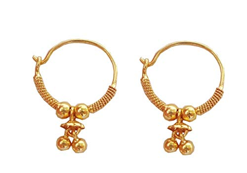 Beautiful Solid Real Yellow Fine 100% Pure Gold Round Design Indian Handmade Hoop Earrings