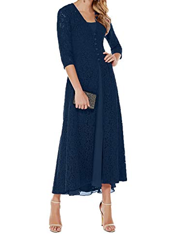 Abendkleider Festlich Blau Partykleider Charmant Spitze Damen Ballkleider Brautmutterkleider Knoechellang Langarm Jaket Navy fOWBRUwq