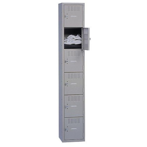 Tennsco Corp. 6 Tier Box Locker, 1 Wide, 12''Wx18''Dx72''H, Medium Gray by Tennsco