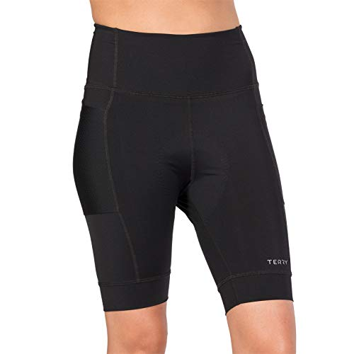Terry Holster Hi Rise Cycling Short for Women - Ladies Padded Cycling Shorts - Black - Large ()