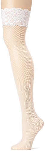 True Meaning Sexy Women's Plus Size Fishnet Thigh High Stockings with Back Seam and Silicone Lace Top, White, Plus Size