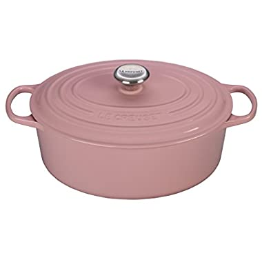 Le Creuset of America Signature Cast Iron Oval Dutch Oven, 6-3/4-Quart, Hibiscus