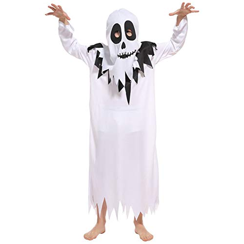 LOLANTA Kids Ghost Halloween Costumes Boys Girls Cosplay Dress up Scary White Robe (6-7) ()