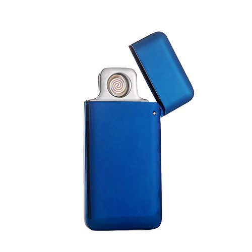 Blue Ice Flame Lighter (Oiikury Mini USB Lighters Metal Rechargeable Flameless Lighter Windproof No Gas Electric Cigarette Lighter (Blue ice))
