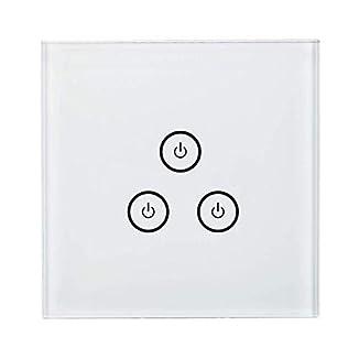 meross Interruptor Táctil de Pared Wi-Fi 1 Vía, 3 Canales, con Pantalla Táctil, Pulsador de Cristal. Compatible con Alexa, Asistente de Google y IFTTT (Requiere un Cable Neutral al Instalar).