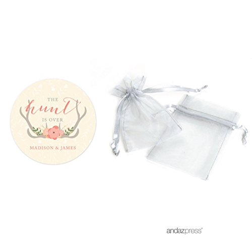 Andaz Press Woodland Deer Wedding Collection, Personalized Organza Bags with Round Gift Tags Party Favors Kit, The Hunt is Over, 24-Pack, Custom Made