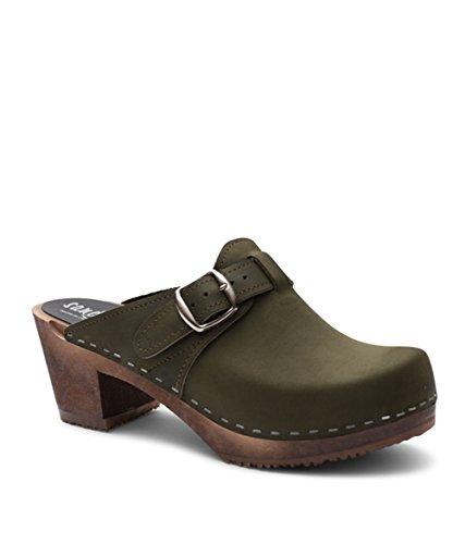 Nashville Base Dark Clog Swedish High Women Sandgrens Wooden Heel Olive Mules BRvx0wqF
