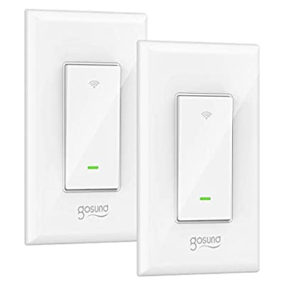 Smart Light Switch, Gosund 15A Smart Wifi Light Switch with Remote Control and Timer, Works with Alexa, Google home and IFTTT, No Hub required, Easy and Safe installation, ETL and FCC listed. (2pcs)
