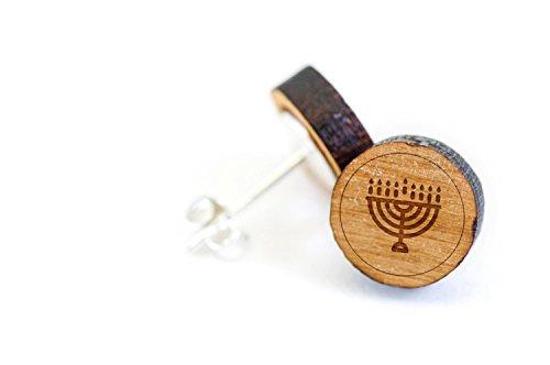 WOODEN ACCESSORIES COMPANY Wooden Stud Earrings With Hanukkah Menorah Laser Engraved Design - Premium American Cherry Wood Hiker Earrings - 1 cm - Laser Menorah