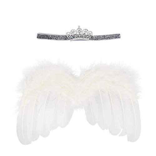 Wolken Newborn Baby Angel Feather Wing with Crwon