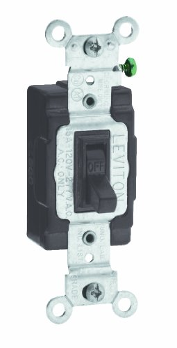 - Leviton 54501-2 15 Amp, 120/277 Volt, Toggle Framed Single-Pole AC Quiet Switch, Commercial Grade, Grounding, Brown