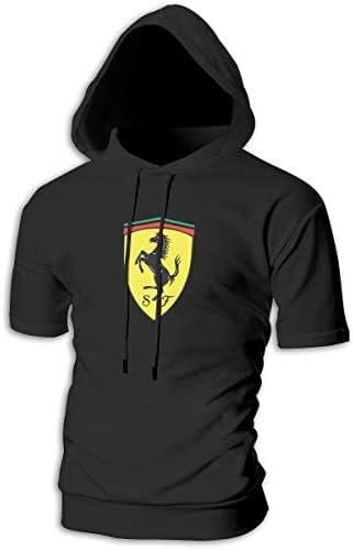 メンズ 半袖 フーディ スウェット パーカー 帽子 ポケットなし フェラーリ 自動車メーカー B系 オシャレ 目立つ Black