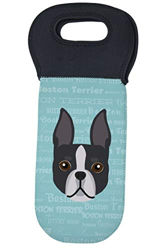 Mystic Sloth Adorable Dog Breed Specific Neoprene Wine Tote with Black Handle (Boston Terrier)