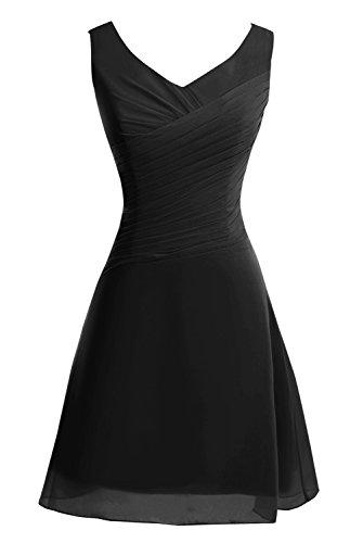 Black Short Neck Bridesmaid Dresses Womens Dasior Party Knee Length V wzOOBqpA