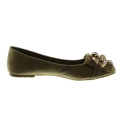 cm Moda a Blocco D'Oro Slip Verde 1 Catena On Scarpe Frange Donna Tacco Angkorly Ballerina RqOxfwg