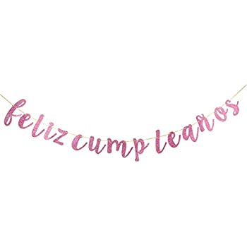 INNORU Feliz Cumpleaños Banner - Happy Birthday Sign Pink and Gold Glitter Birthday Party Decoration Supplies