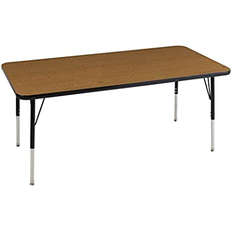 ECR4Kids Mesa Thermo Fused 30 X 60 Rectangular School Activity Table Toddler Legs W Swivel Glides Adjustable Height 15 23 Inch Oak Black
