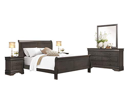 Cal King Sleigh Bedroom Set - Modern Louis Philippe 5PC Bedroom Set Cal King Sleigh Bed, Dresser, Mirror, 2 Nightstand in Dark Brown