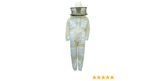 Professional Bee Unisex White Fabric Mesh Beekeeping Suit Sting Proof Bee Suit Ventilated Bee Suit Bee Protection Suit Honey Bee Suit Beehive Suit ...