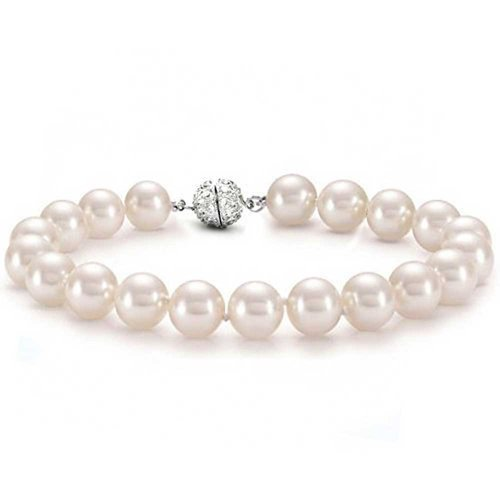 12mm Pink Simulated Pearl Wedding Bracelet Rhodium - Pearl Bracelet 12 Mm