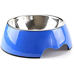 ZZmeet Muti Colors Solid Melamine Plastic Stainless Steel Dog Bowl Dog and Cat Feeder Pet Dinner Dish Feeding and Watering,Blue,L