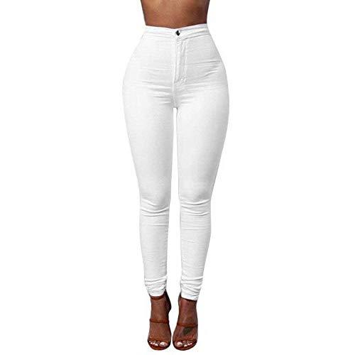 Dril Pantalones Ocasionales Hombres Vaqueros Color Lápiz Señoras Del Los Algodón Blanco Mezclilla Moda La Alta Cintura Sólido De Ropa wxAP8q4