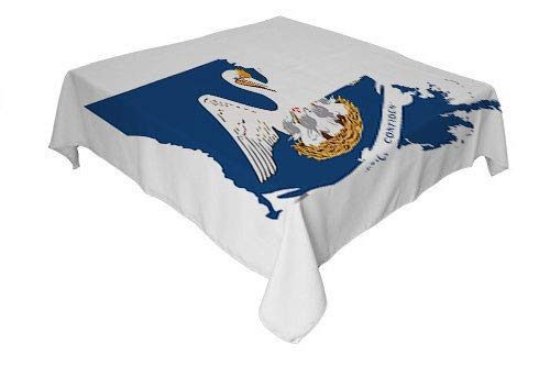 Louisiana Table Cover Pelican State Flag Map Union Justice Confidence Cobalt Blue White Pale Coffee Earth Yellow Waterproof Table Cloth Square Tablecloth 70 by 70 inch