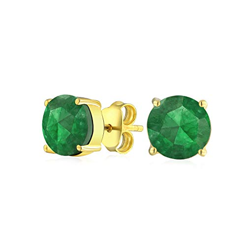 40a0c3197460 2.2CT Green Gemstone Created Nano Emerald Solitaire Stud Earrings 14K  Yellow Gold Plated Sterling Silver