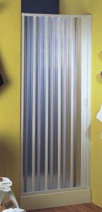 Nischenfalttür   Nischendusche   Duschfalttür   Sirio   PVC transparent   Fb. alufarben Größe 80-100 x 188 cm