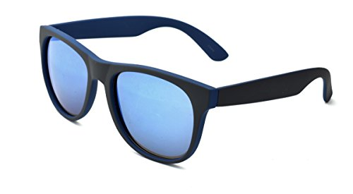 Dickies Men's Wayfarer Sunglasses, Grey Blue Two Tone Frame, Dark Blue Mirror Lens, - Sunglasses Dickie