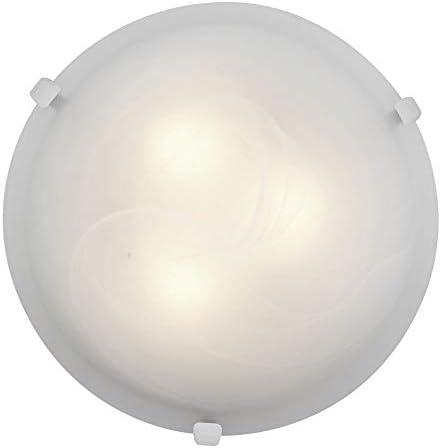Mona – 16 dia Flush Mount – White Finish – Alabaster Glass Shade