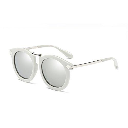 名詞予測ファッションYUBIN サングラス女性の潮丸い面偏光ライトサングラスドライブメガネ正方形の顔の男性 (色 : D)