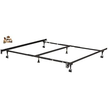 this item heavy duty 6 leg adjustable universal twin full queen king metal bed frame with double center support rug rollers locking wheels