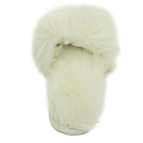 Gohom Slippers Warm Solid Furry Home Plush For White Womens IrRBwI