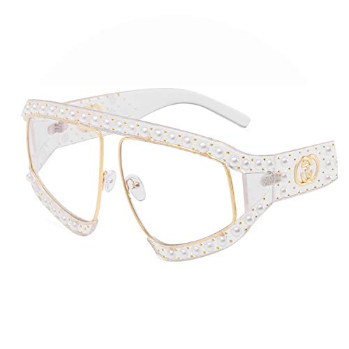 2019 new women inlaid with pearl willow nail Sunglasses extravagant Europe and America big frame personality anti UV glasses,Transparent-plano