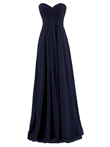 Tirantes Sin de de Larga Marino Baile de Dama Vestido de Gasa Honor de JAEDEN Vestidos Plisada Noche Azul pwdRnxqpz5