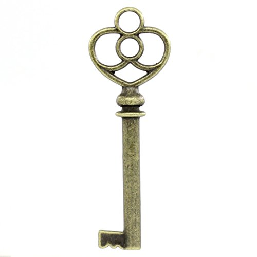 Brass Heart Skeleton Keys in Bulk For Jewelry and Home Decor Lot of 20 (Brass)