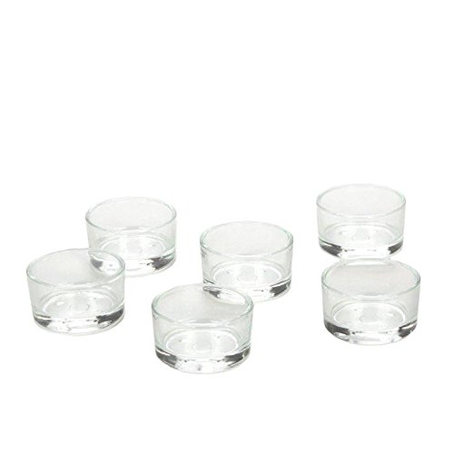 Hosley Clear Glass Set of 6, Glass Tea Light Holders - 1.8