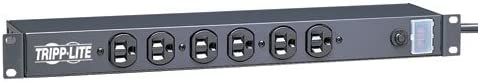 Tripp Lite 6 Outlet Rackmount Network-Grade PDU Power Strip, Front-Facing, 1U, 15A, 15ft Cord with 5-15P Plug RS-0615-F