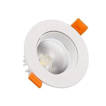 Foco Downlight LED COB Direccionable Circular 9W Blanco Blanco C/álido 3000K efectoLED