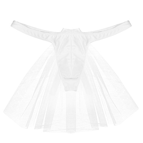 Thong Low Bridal Rise Bow (Agoky Men's Bridal Wedding Bikini Briefs Sissy Pouch Panties G-String Thong Mesh Veil Underwear White X-Large (Waist 32.0