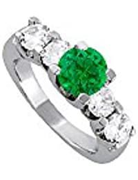 Amazingly Designed Emerald and CZ Ring 2.25 TGW